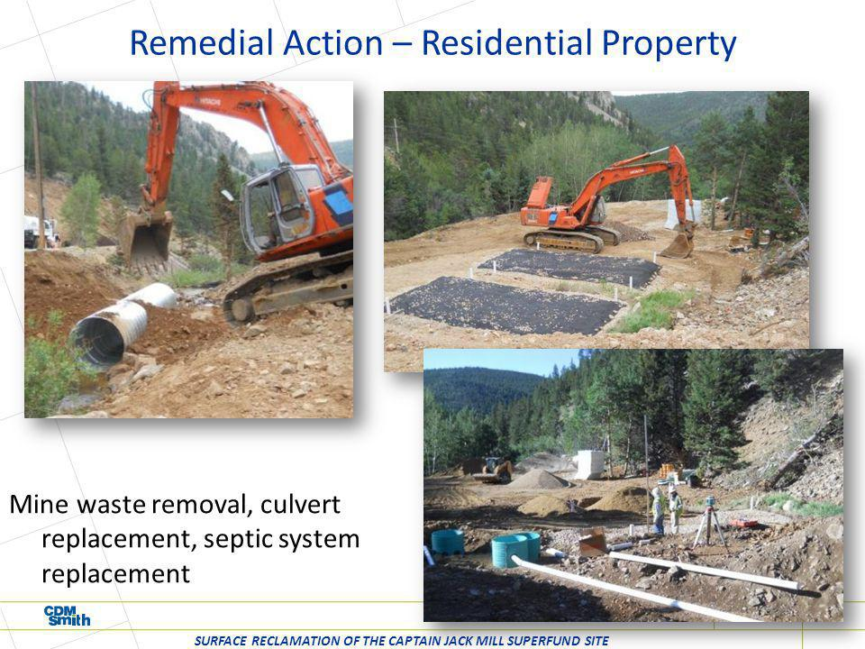 Remedial Action – Residential Property SURFACE RECLAMATION OF THE CAPTAIN JACK MILL SUPERFUND SITE Mine waste removal, culvert replacement, septic sys