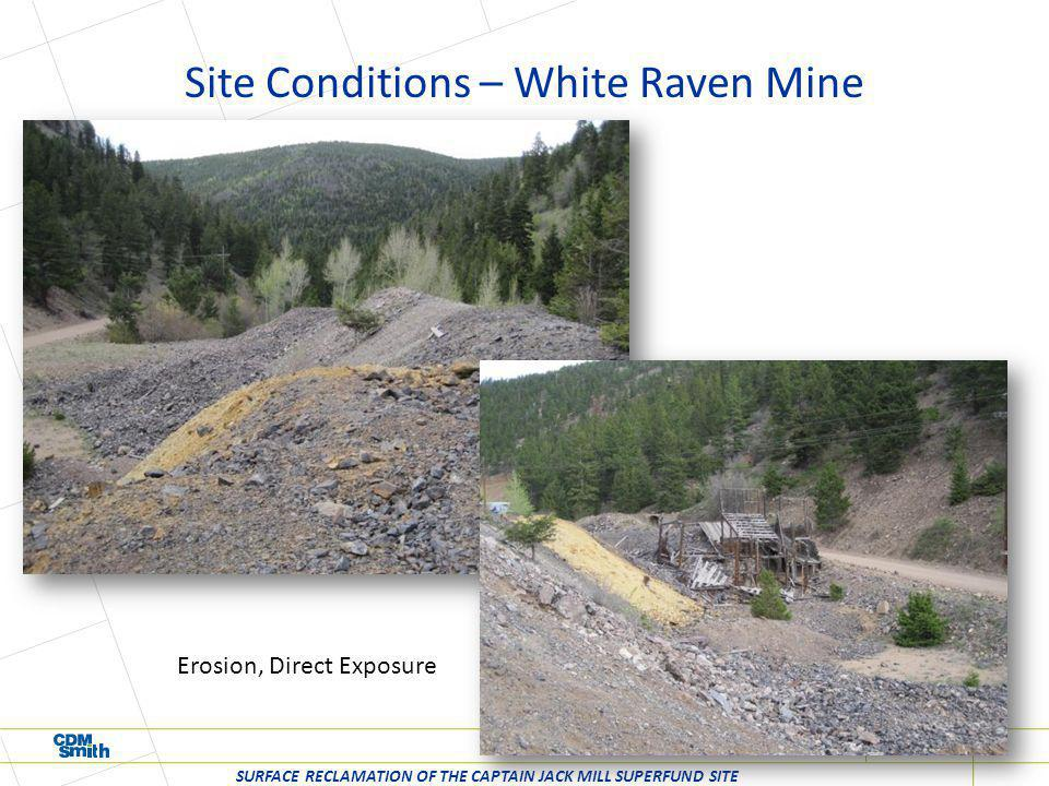 Site Conditions – White Raven Mine SURFACE RECLAMATION OF THE CAPTAIN JACK MILL SUPERFUND SITE Erosion, Direct Exposure