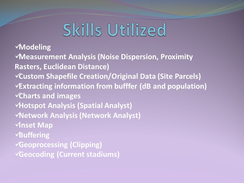 Modeling Measurement Analysis (Noise Dispersion, Proximity Rasters, Euclidean Distance) Custom Shapefile Creation/Original Data (Site Parcels) Extracting information from bufffer (dB and population) Charts and images Hotspot Analysis (Spatial Analyst) Network Analysis (Network Analyst) Inset Map Buffering Geoprocessing (Clipping) Geocoding (Current stadiums)