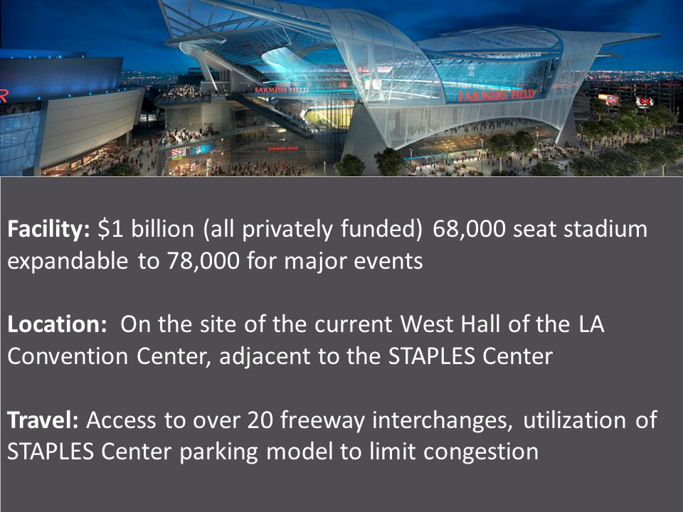 Facility: $1 billion (all privately funded) 68,000 seat stadium expandable to 78,000 for major events Location: On the site of the current West Hall of the LA Convention Center, adjacent to the STAPLES Center Travel: Access to over 20 freeway interchanges, utilization of STAPLES Center parking model to limit congestion