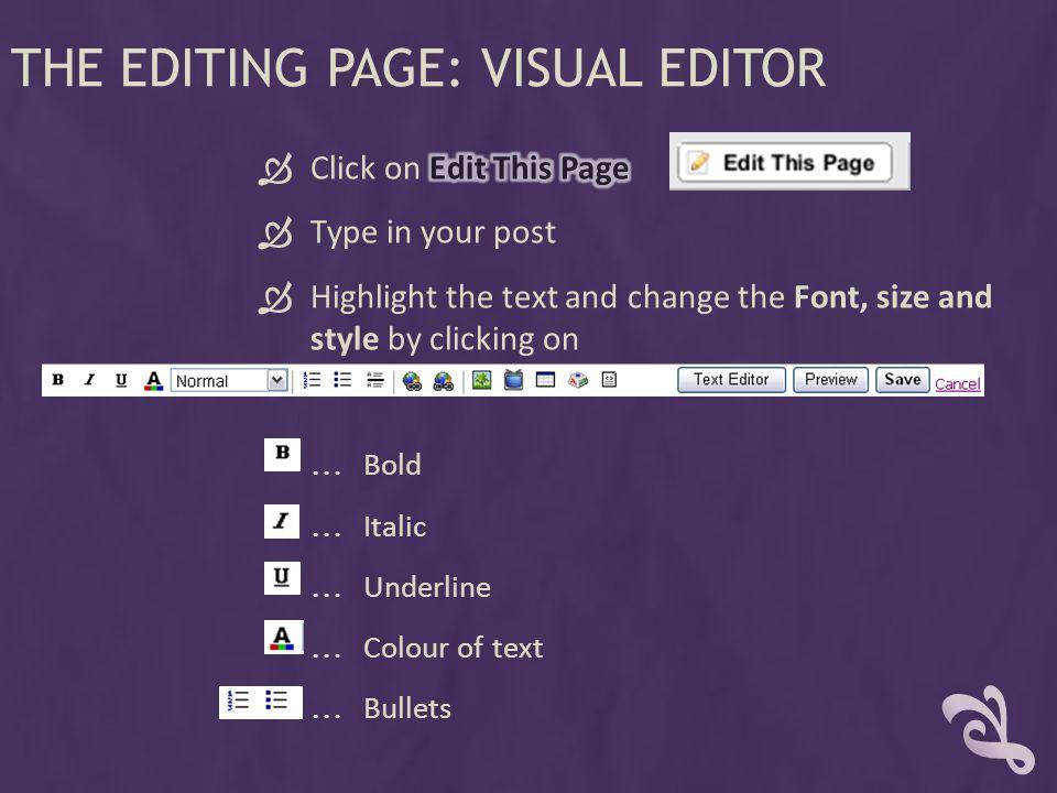 THE EDITING PAGE: VISUAL EDITOR