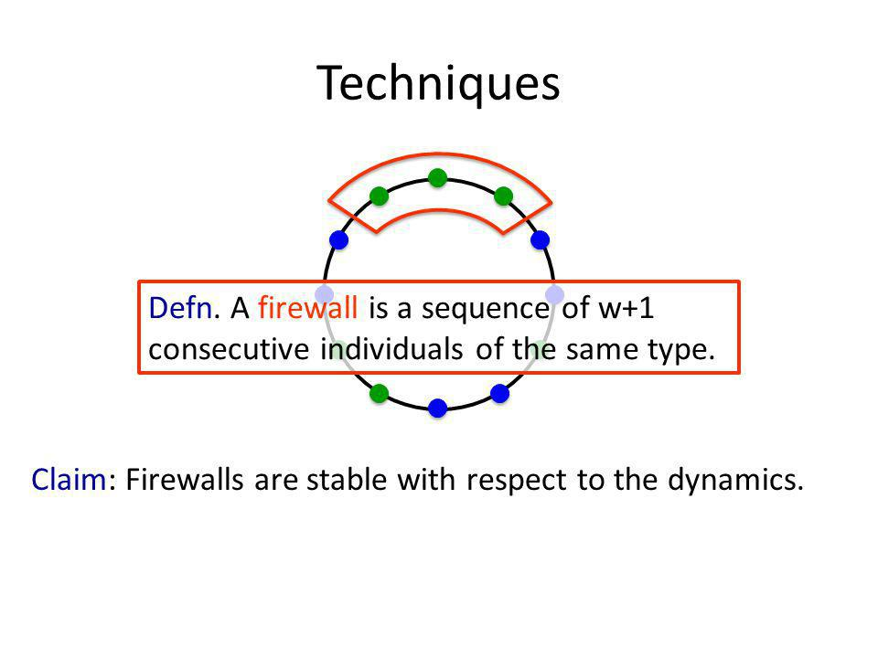 Techniques Defn. A firewall is a sequence of w+1 consecutive individuals of the same type.