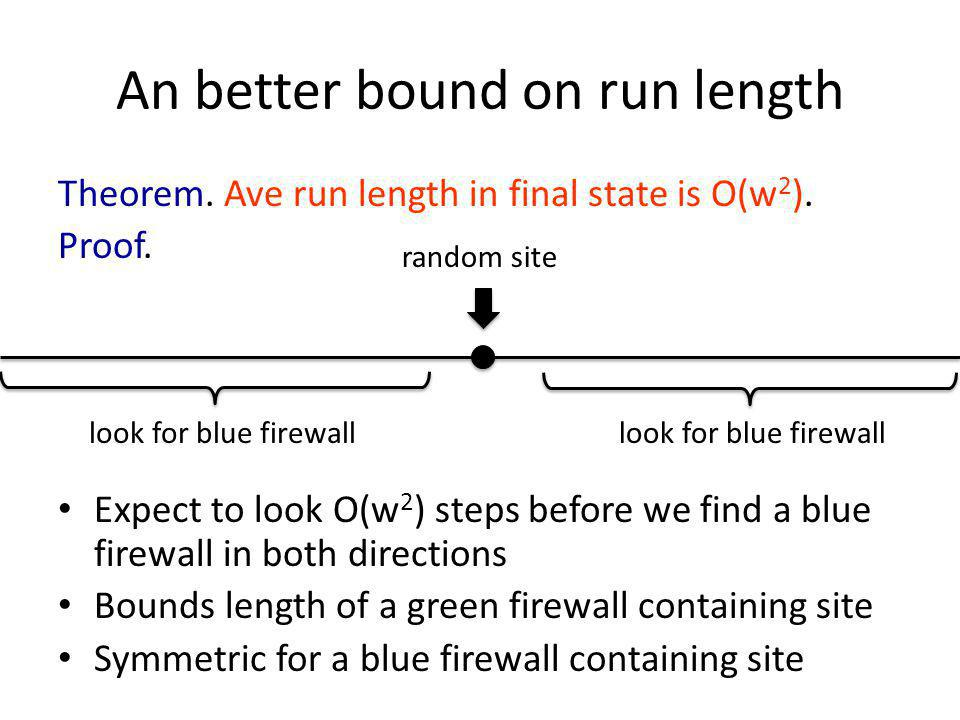 An better bound on run length Theorem. Ave run length in final state is O(w 2 ).