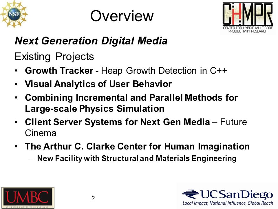 Overview 2 Next Generation Digital Media Existing Projects Growth Tracker - Heap Growth Detection in C++ Visual Analytics of User Behavior Combining Incremental and Parallel Methods for Large-scale Physics Simulation Client Server Systems for Next Gen Media – Future Cinema The Arthur C.