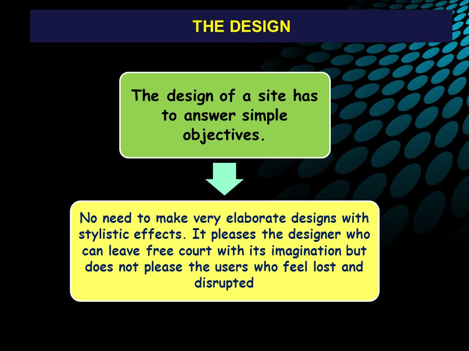 The design of a site has to answer simple objectives.