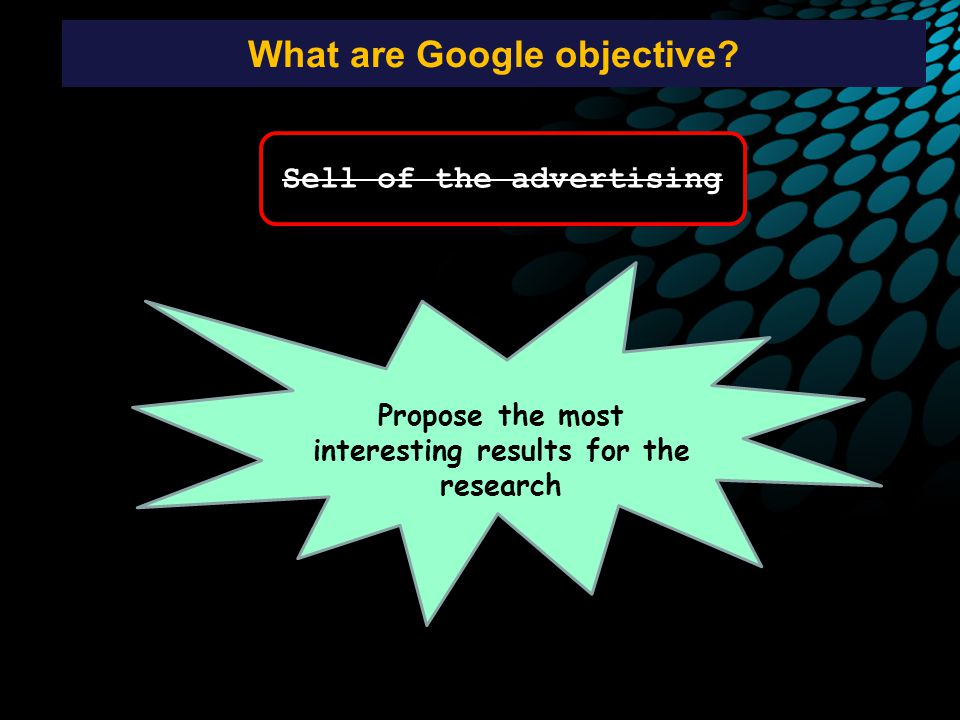 What are Google objective.