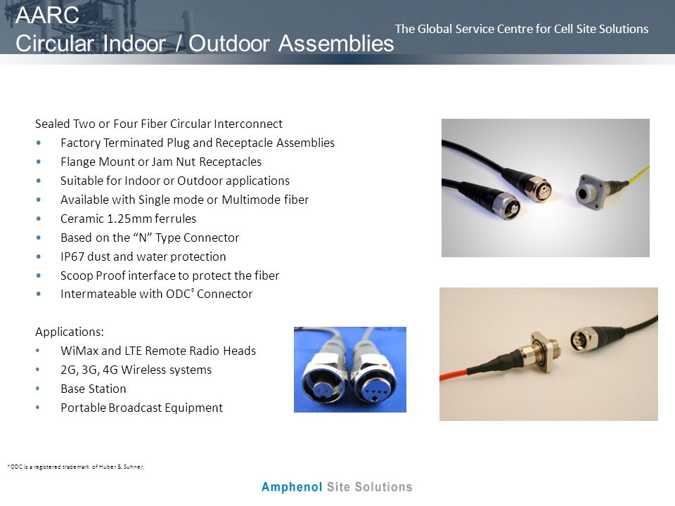 The Global Service Centre for Cell Site Solutions Node Cable Assemblies Outdoor Node Assemblies Two to twelve fibers Stainless steel or polymer housing Standard SCTE 5/8-24 threaded interface Multiple O-ring design seals for moisture protection Anti-Twist design allows for easy installation without housing disassembly Color coded 2mm jacketed or 900um breakout Accommodates Single Mode or Multimode fiber ONFR or armored cable constructions available Available with most industry standard connectors Applications: CATV Distribution Nodes Optical Transport and processing equipment