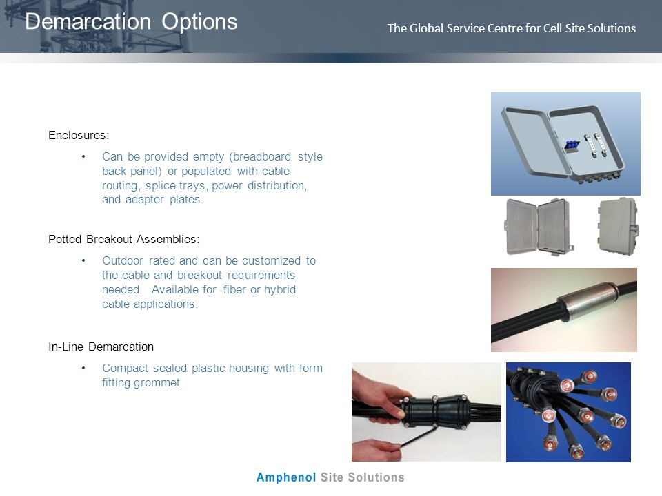 The Global Service Centre for Cell Site Solutions Demarcation Options Enclosures: Can be provided empty (breadboard style back panel) or populated wit