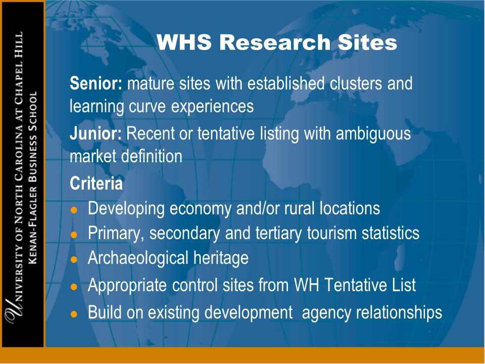 WHS Research Sites Senior: mature sites with established clusters and learning curve experiences Junior: Recent or tentative listing with ambiguous ma