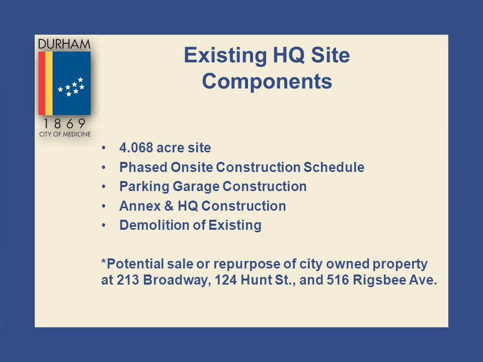 Existing HQ Site Components 4.068 acre site Phased Onsite Construction Schedule Parking Garage Construction Annex & HQ Construction Demolition of Exis
