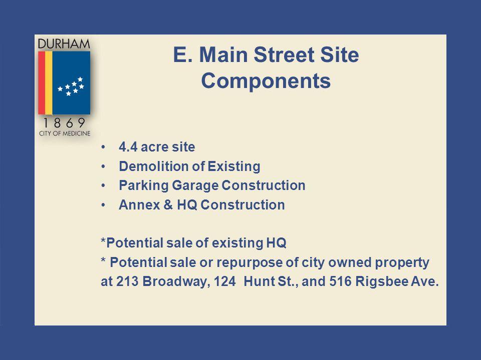 E. Main Street Site Components 4.4 acre site Demolition of Existing Parking Garage Construction Annex & HQ Construction *Potential sale of existing HQ