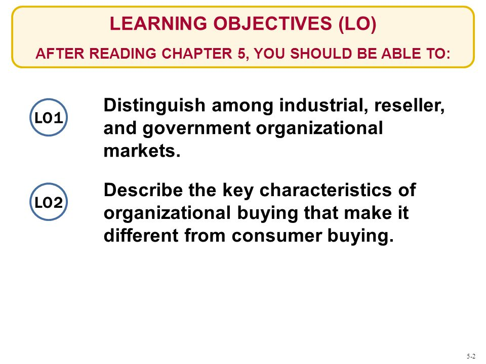 LEARNING OBJECTIVES (LO) AFTER READING CHAPTER 5, YOU SHOULD BE ABLE TO: Distinguish among industrial, reseller, and government organizational markets