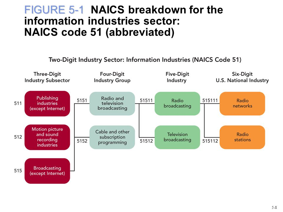 FIGURE 5-1 FIGURE 5-1 NAICS breakdown for the information industries sector: NAICS code 51 (abbreviated) 5-8