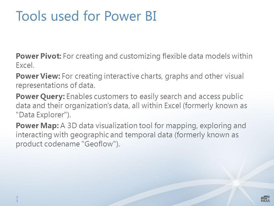 Tools used for Power BI Power Pivot: For creating and customizing flexible data models within Excel.