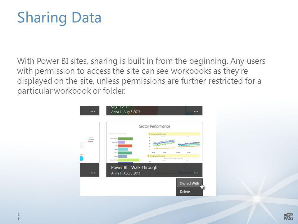 Sharing Data With Power BI sites, sharing is built in from the beginning.