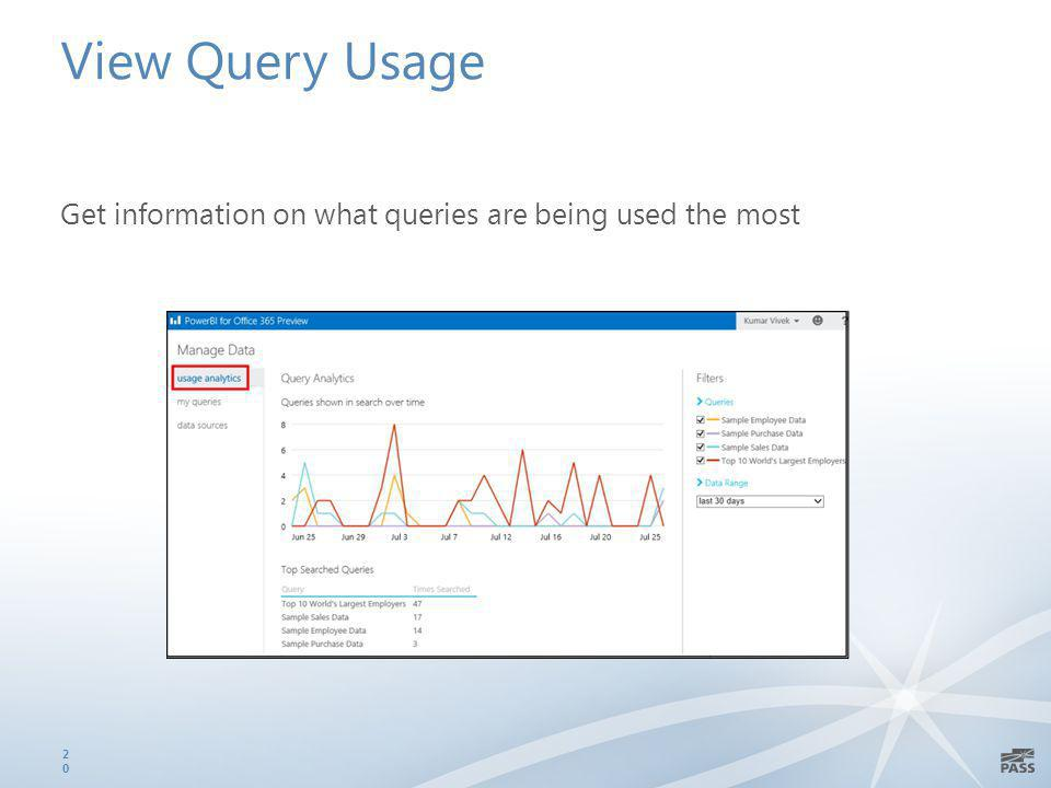 View Query Usage Get information on what queries are being used the most 20