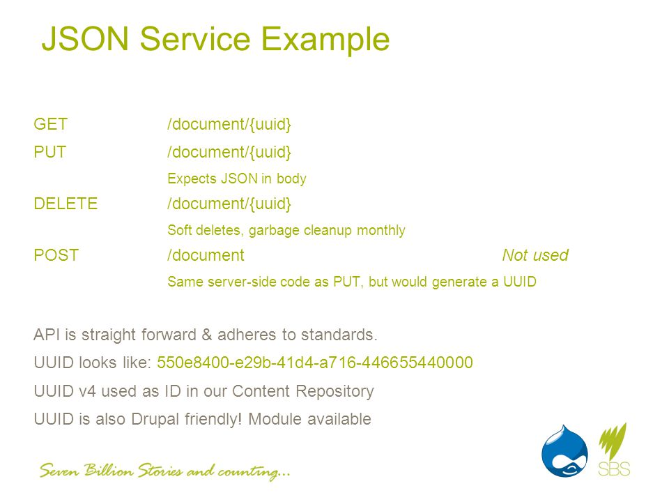 JSON Service Example GET/document/{uuid} PUT/document/{uuid} Expects JSON in body DELETE/document/{uuid} Soft deletes, garbage cleanup monthly POST/documentNot used Same server-side code as PUT, but would generate a UUID API is straight forward & adheres to standards.