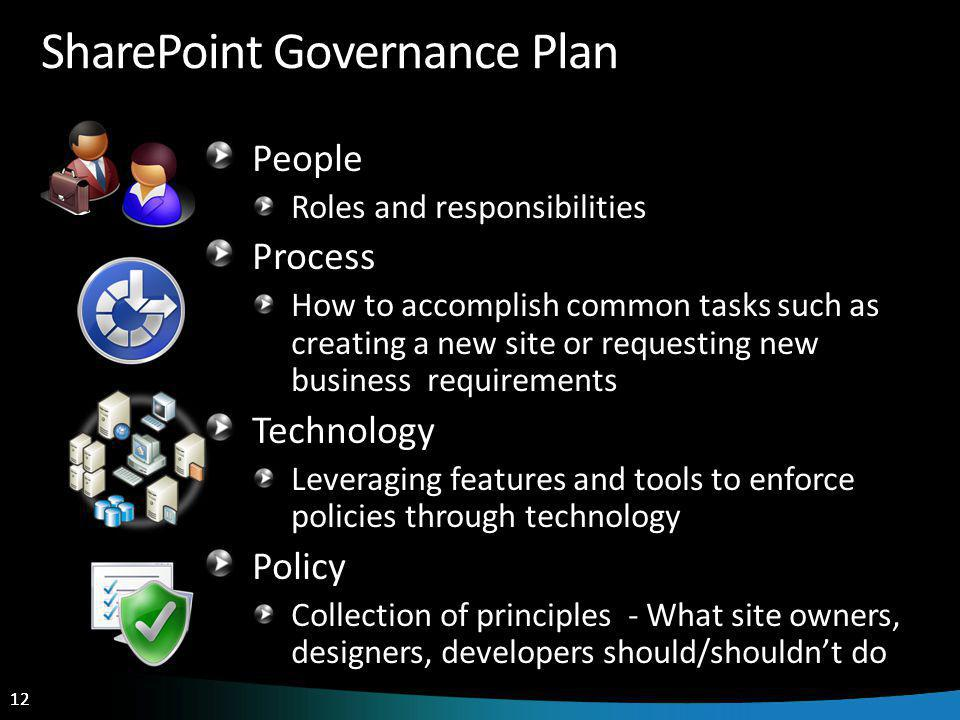 12 SharePoint Governance Plan People Roles and responsibilities Process How to accomplish common tasks such as creating a new site or requesting new business requirements Technology Leveraging features and tools to enforce policies through technology Policy Collection of principles - What site owners, designers, developers should/shouldnt do
