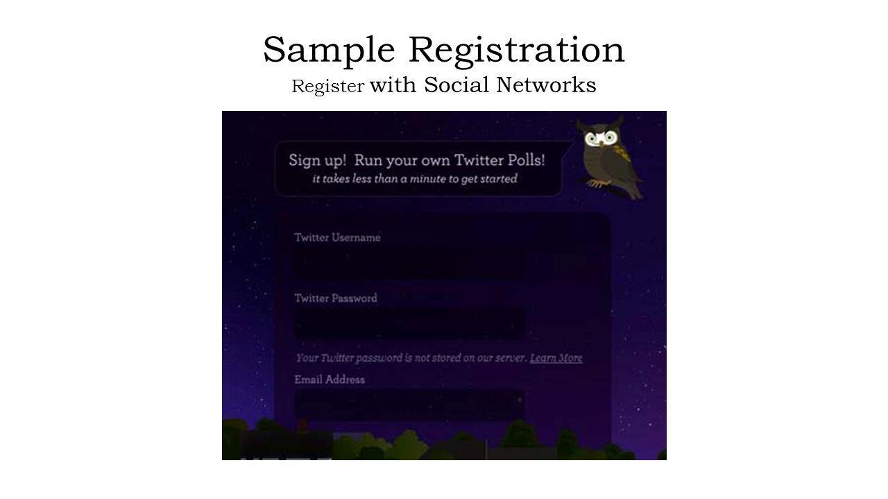 Sample Registration Register with Social Networks