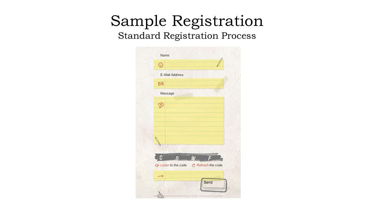 Sample Registration Standard Registration Process
