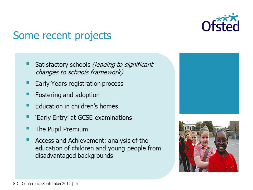 SICI Conference September 2012 | 5 Satisfactory schools (leading to significant changes to schools framework) Early Years registration process Fosteri