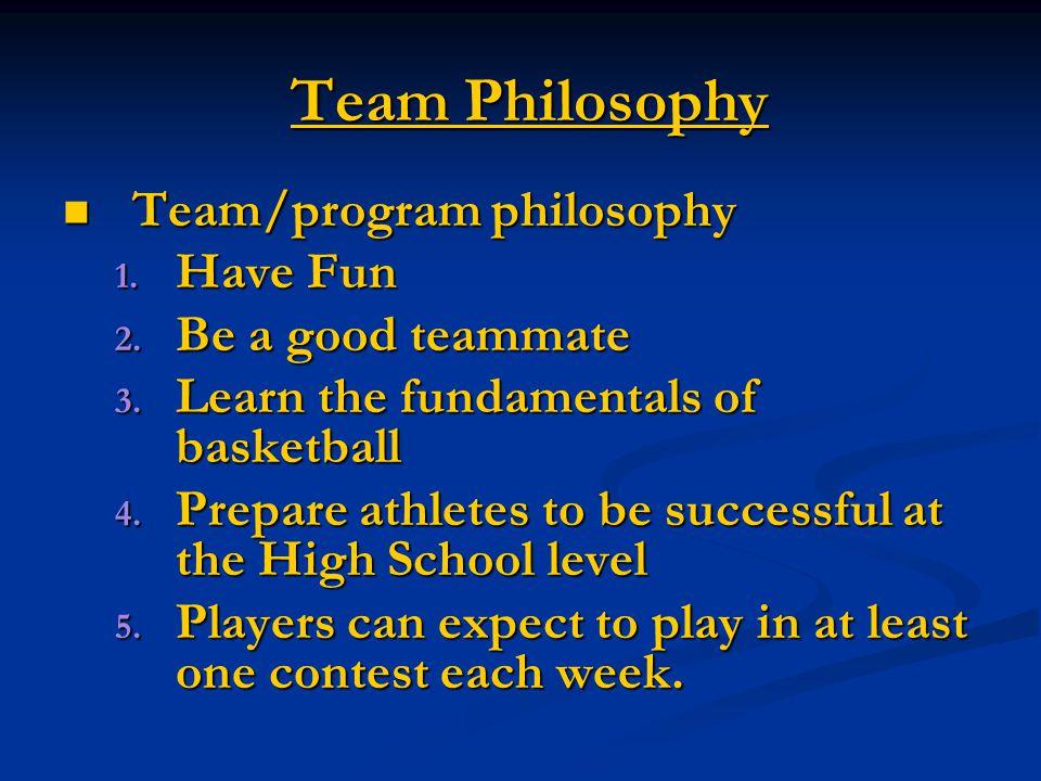 Team Philosophy Team/program philosophy Team/program philosophy 1.