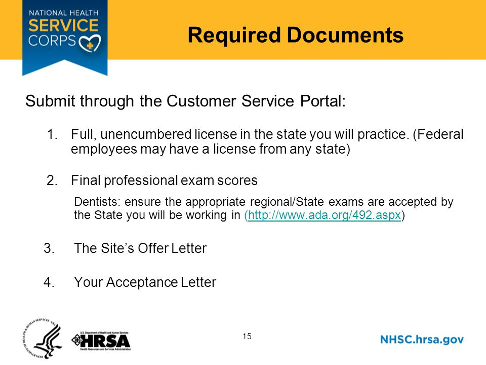 15 Required Documents Submit through the Customer Service Portal: 1.Full, unencumbered license in the state you will practice.