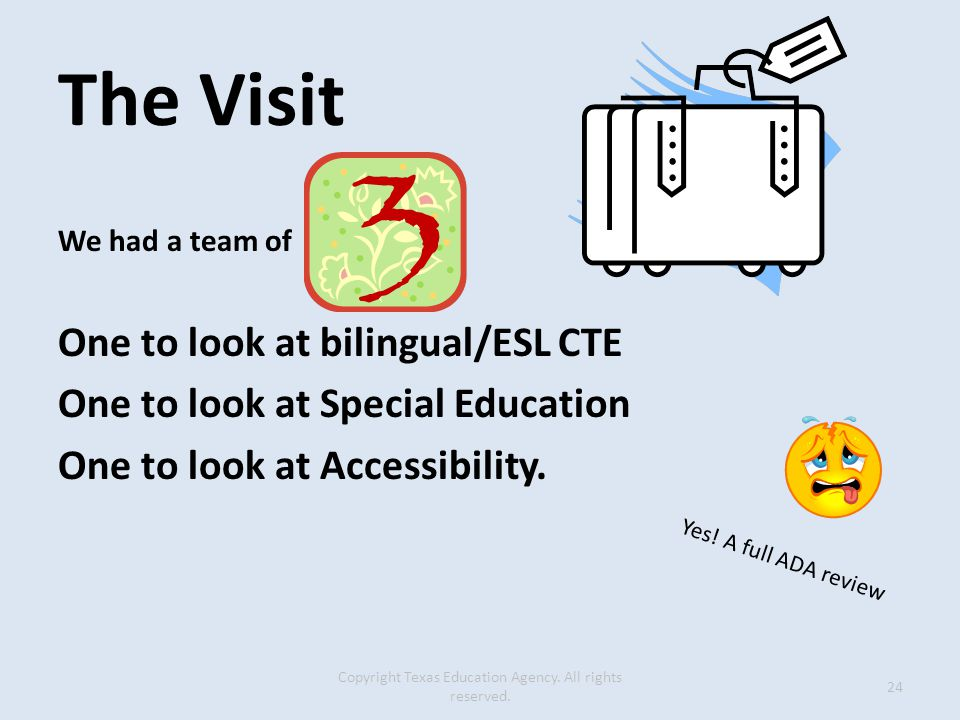 The Visit We had a team of One to look at bilingual/ESL CTE One to look at Special Education One to look at Accessibility.