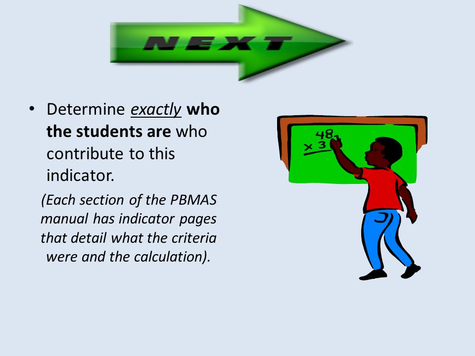 Determine exactly who the students are who contribute to this indicator. (Each section of the PBMAS manual has indicator pages that detail what the cr