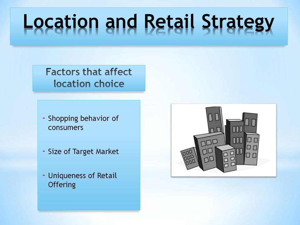 - Shopping behavior of consumers - Size of Target Market - Uniqueness of Retail Offering