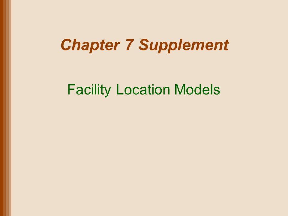 Lecture Outline Types of Facilities Site Selection: Where to Locate Global Supply Chain Factors Location Analysis Techniques Copyright 2011 John Wiley & Sons, Inc.Supplement 7-2