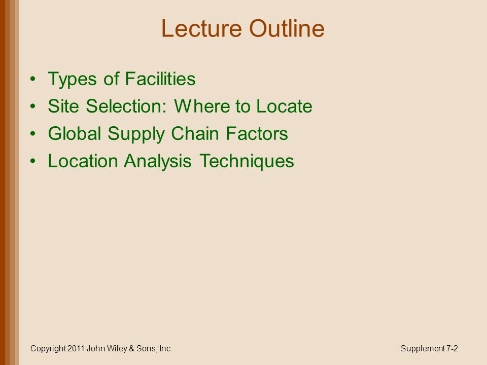 Types of Facilities Heavy-manufacturing facilities large, require a lot of space, and are expensive Light-industry facilities smaller, cleaner plants and usually less costly Retail and service facilities smallest and least costly Copyright 2011 John Wiley & Sons, Inc.Supplement 7-3