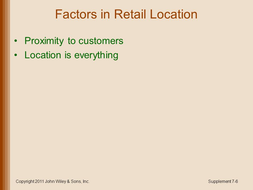 Factors in Retail Location Copyright 2011 John Wiley & Sons, Inc.Supplement 7-6 Proximity to customers Location is everything