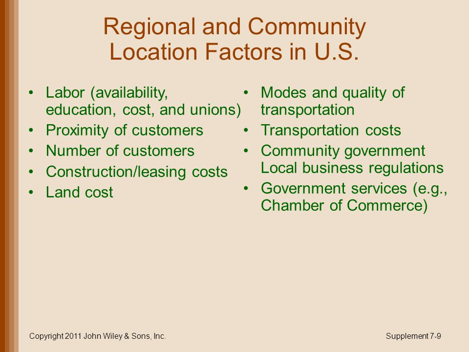 Regional and Community Location Factors in U.S. Labor (availability, education, cost, and unions) Proximity of customers Number of customers Construct
