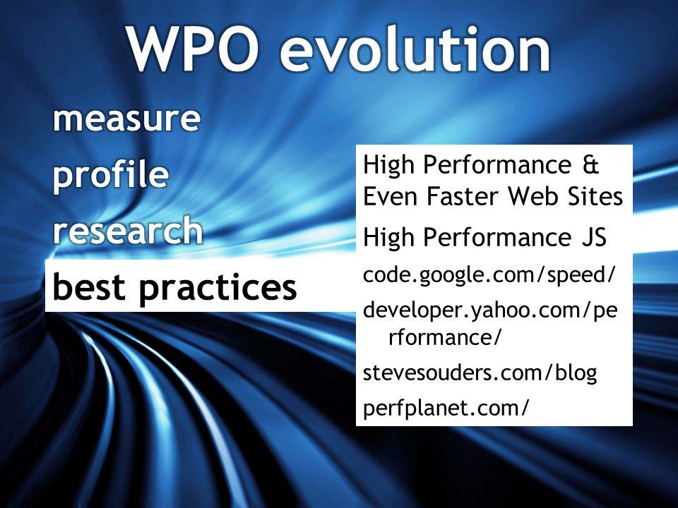 High Performance & Even Faster Web Sites High Performance JS code.google.com/speed/ developer.yahoo.com/pe rformance/ stevesouders.com/blog perfplanet.com/ best practices