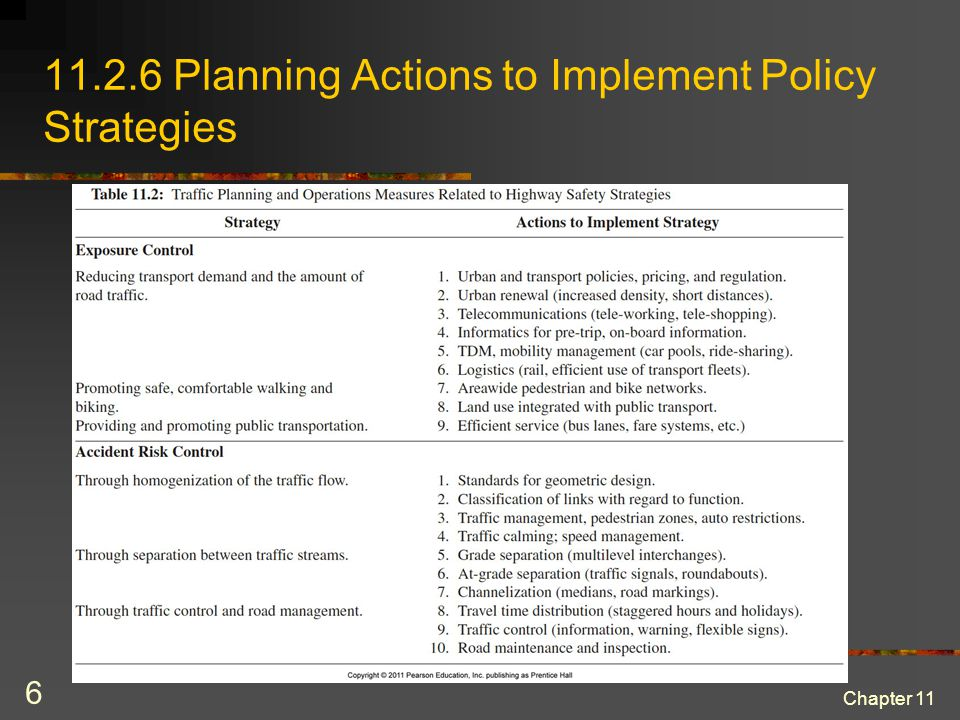 Traffic planning and operation measures related to highway safety strategies (cont) Chapter 11 7