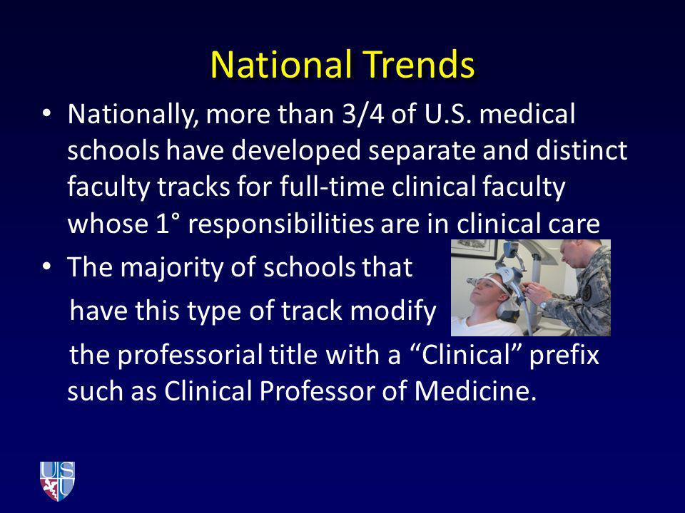 NationalTrends National Trends Nationally, more than 3/4 of U.S. medical schools have developed separate and distinct faculty tracks for full-time cli