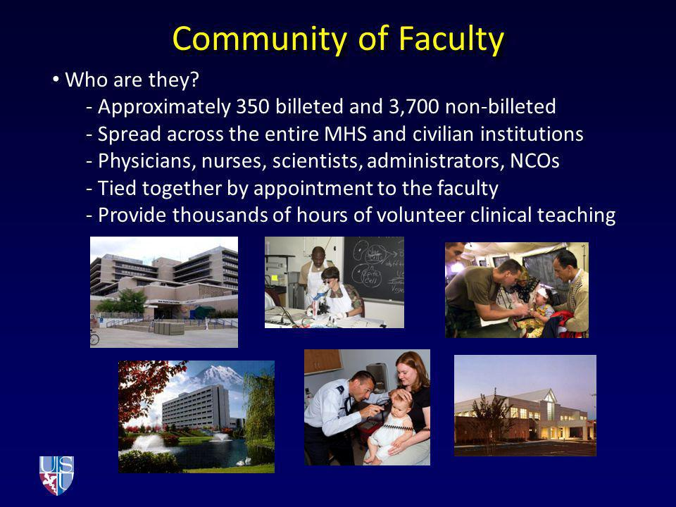 Who are they? - Approximately 350 billeted and 3,700 non-billeted - Spread across the entire MHS and civilian institutions - Physicians, nurses, scien