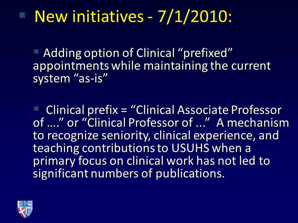 New initiatives - 7/1/2010: New initiatives - 7/1/2010: Adding option of Clinical prefixed appointments while maintaining the current system as-is Add