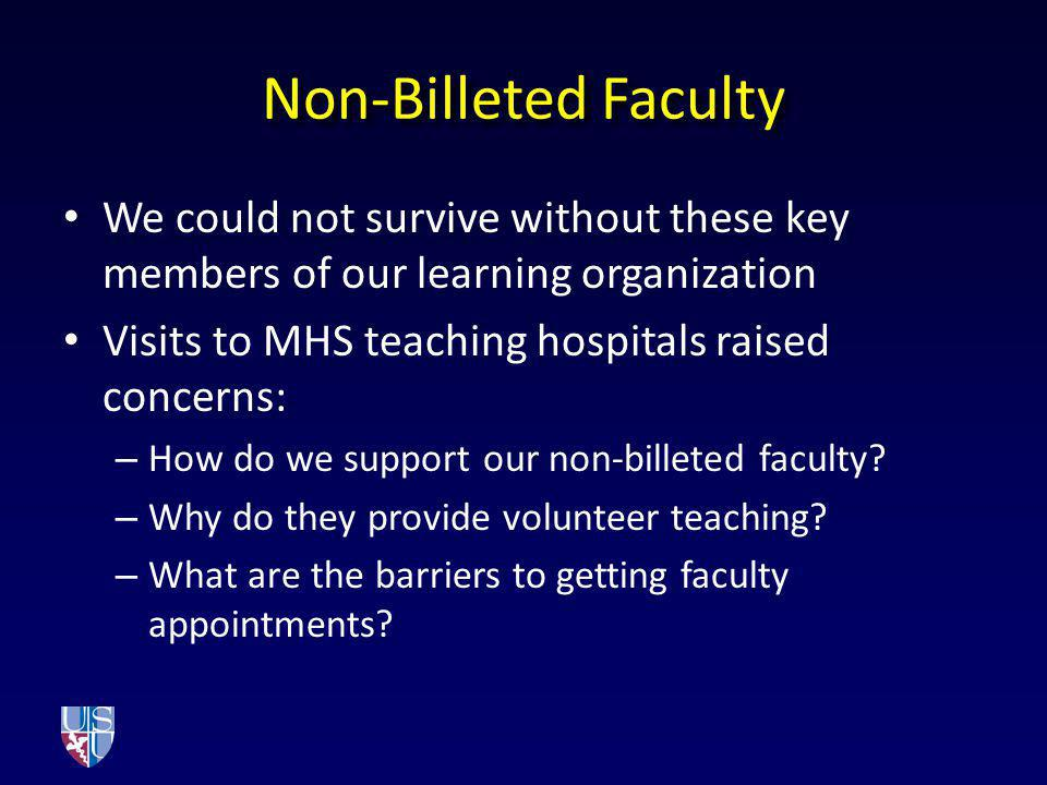 More Concerns Growing pressures on faculty time Increased demands to provide clinical instruction in the time-pressured outpatient environment Extraordinary deployment tempo creating increased teaching demands on faculty