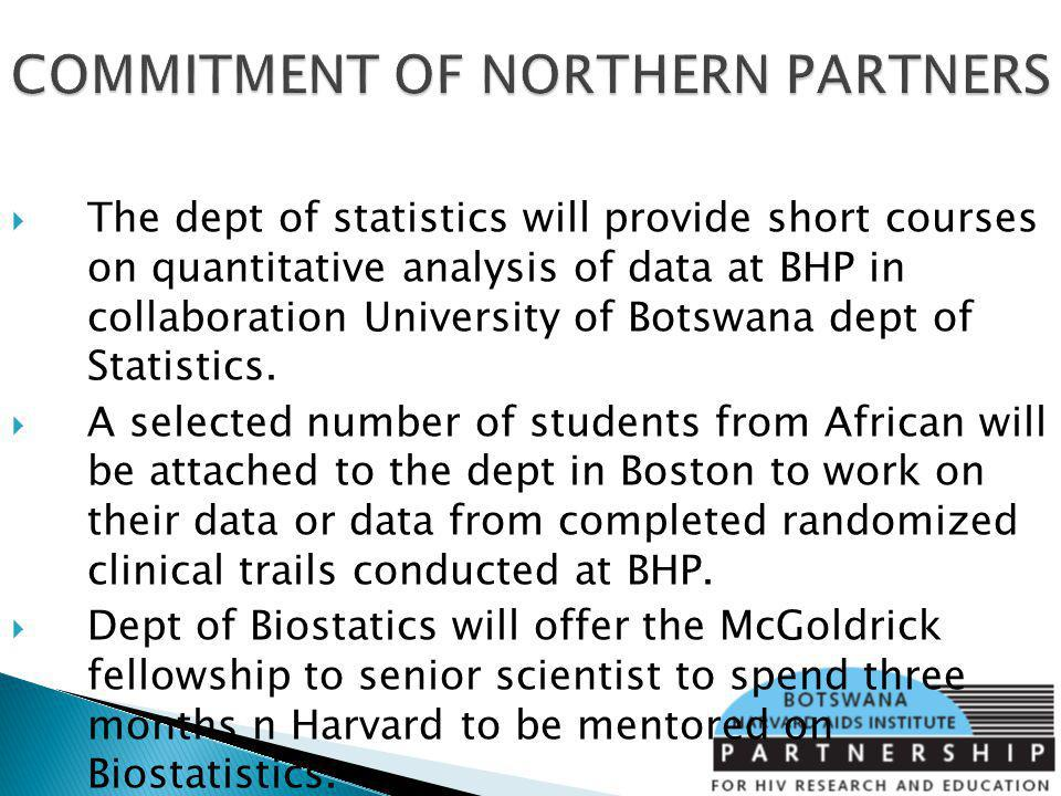 The dept of statistics will provide short courses on quantitative analysis of data at BHP in collaboration University of Botswana dept of Statistics.