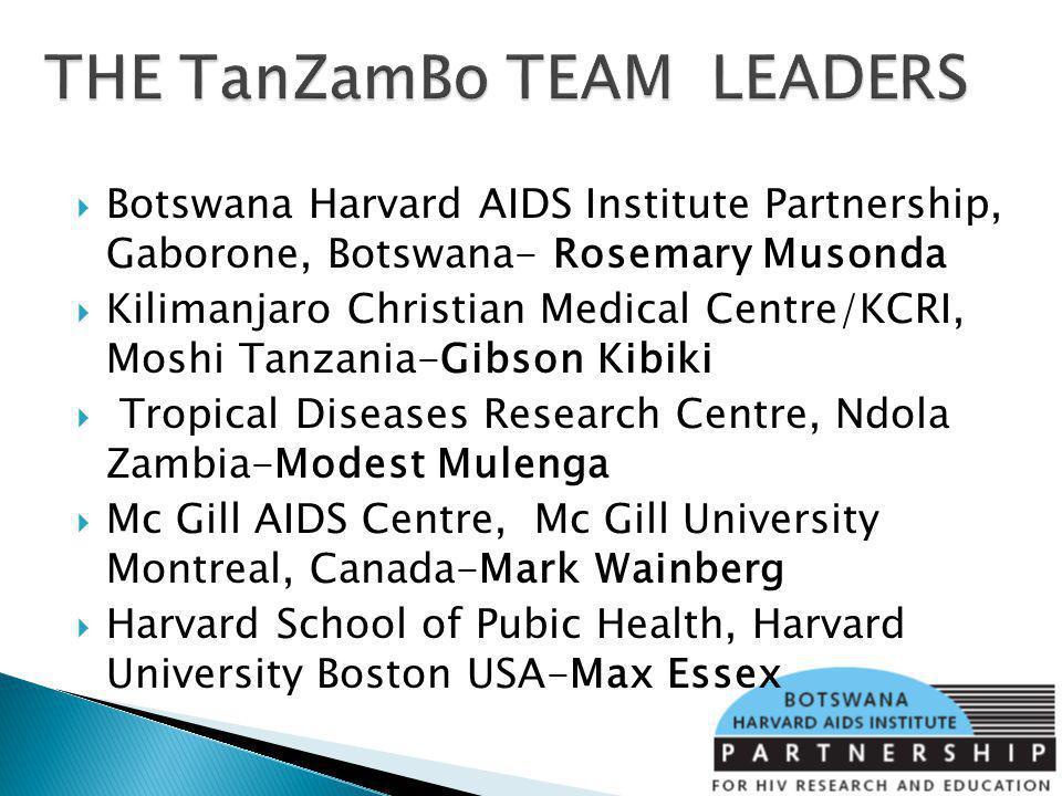 Botswana Harvard AIDS Institute Partnership, Gaborone, Botswana- Rosemary Musonda Kilimanjaro Christian Medical Centre/KCRI, Moshi Tanzania-Gibson Kib