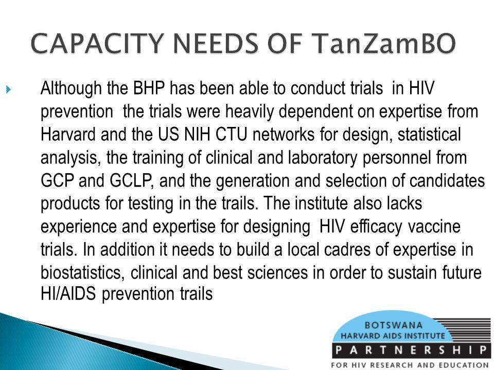 Although the BHP has been able to conduct trials in HIV prevention the trials were heavily dependent on expertise from Harvard and the US NIH CTU networks for design, statistical analysis, the training of clinical and laboratory personnel from GCP and GCLP, and the generation and selection of candidates products for testing in the trails.