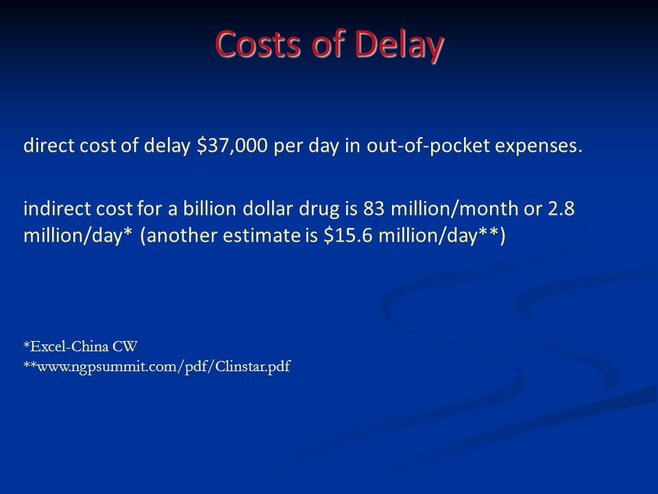 Costs of Delay direct cost of delay $37,000 per day in out-of-pocket expenses.