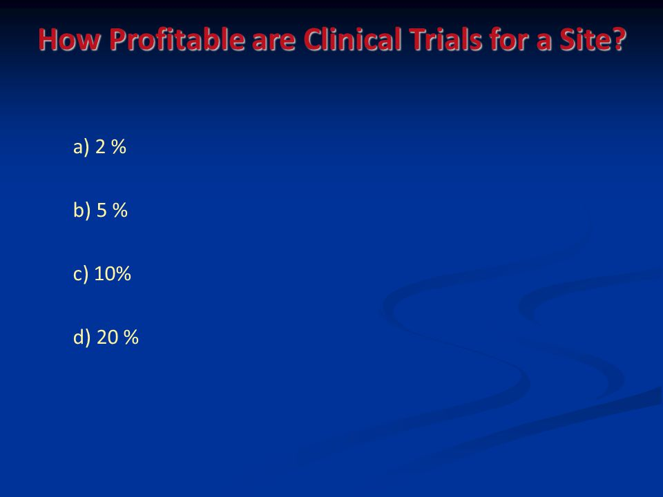 a) 2 % b) 5 % c) 10% d) 20 % How Profitable are Clinical Trials for a Site?
