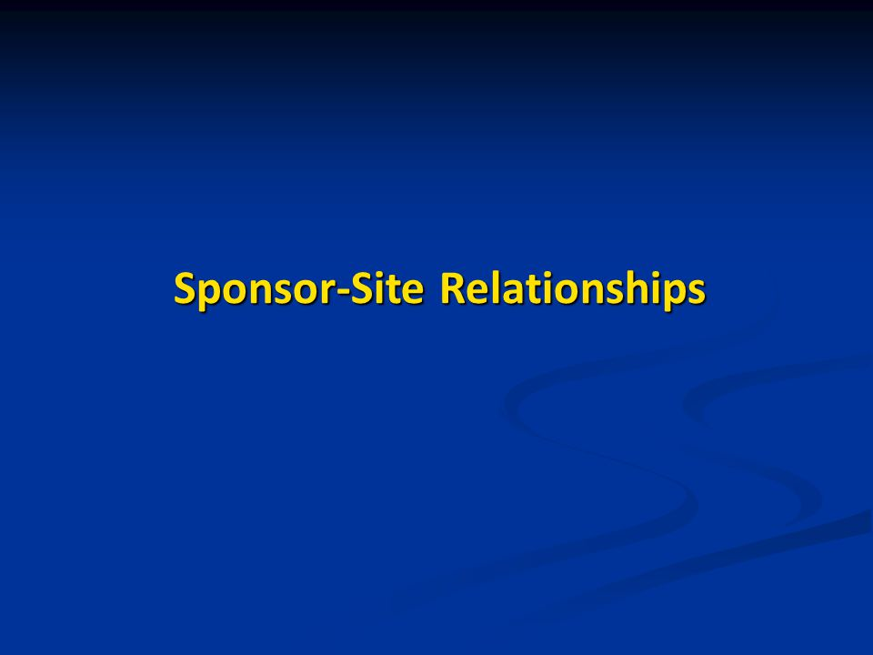 Sponsor-Site Relationships