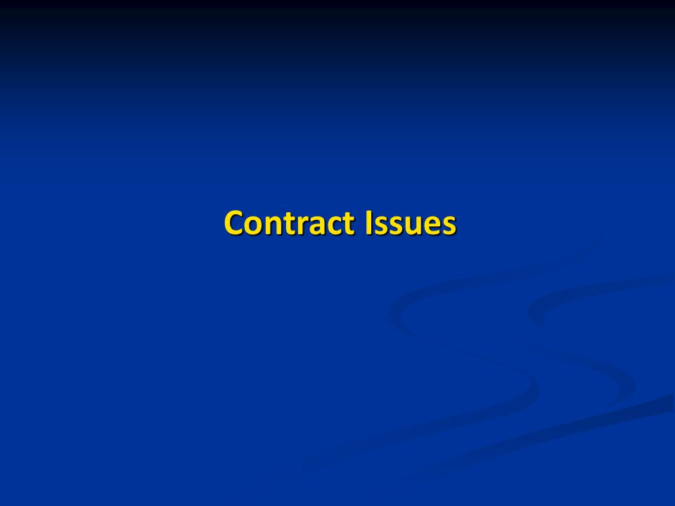 Contract Issues