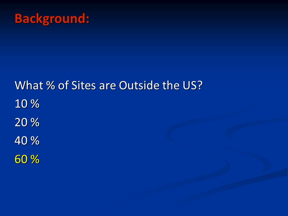 Background: What % of Sites are Outside the US? 10 % 20 % 40 % 60 %
