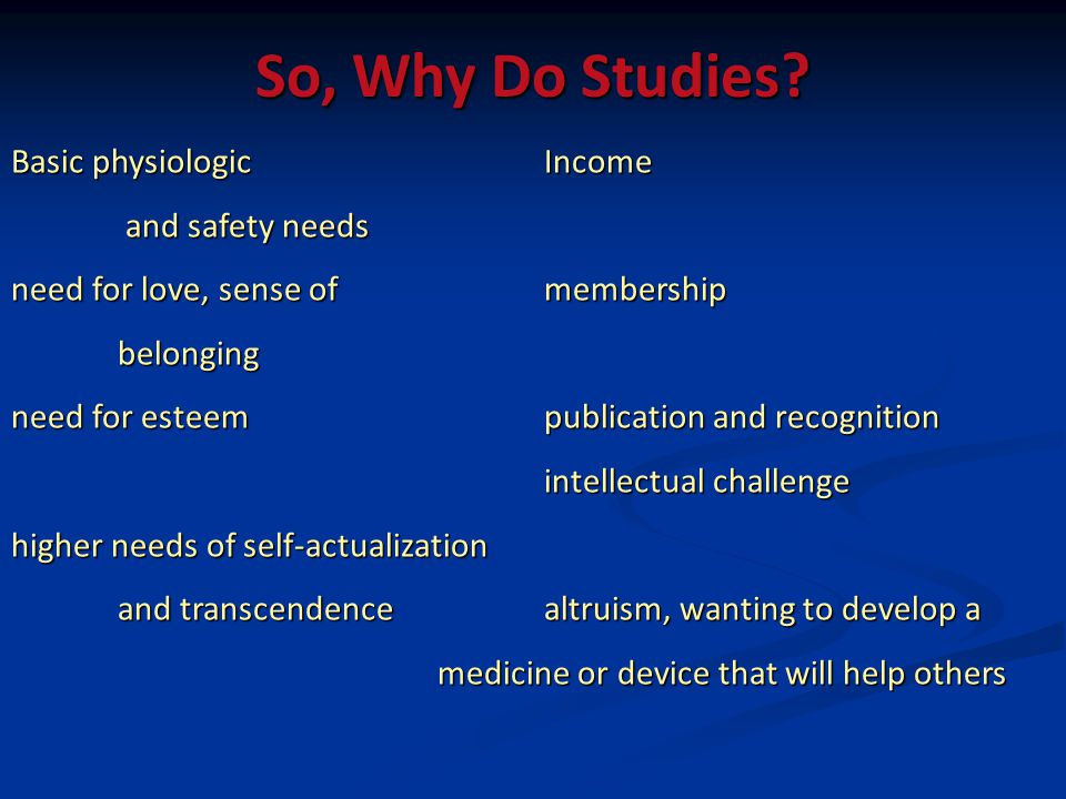 So, Why Do Studies? Basic physiologic Income and safety needs and safety needs need for love, sense of membership belonging need for esteempublication