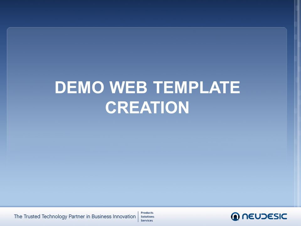 DEMO WEB TEMPLATE CREATION
